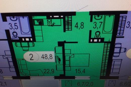 2-комнатная квартира, 49,1 м² в Красноярске