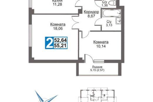 2-комнатная квартира, 55,21 м² в Красноярске